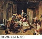 Faed Thomas - a Game of Draughts - British School - 19th Century. Стоковое фото, фотограф Artepics / age Fotostock / Фотобанк Лори
