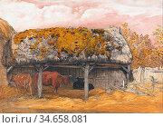Palmer Samuel - a Cow Lodge with a Mossy Roof - British School - ... Редакционное фото, фотограф Artepics / age Fotostock / Фотобанк Лори