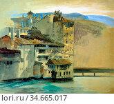 Ruskin John - Old Houses on the Rhône Island Geneva - British School... Редакционное фото, фотограф Artepics / age Fotostock / Фотобанк Лори