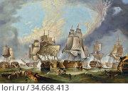 Stanfield George Clarkson - the Battle of Trafalgar 21st October ... Редакционное фото, фотограф Artepics / age Fotostock / Фотобанк Лори