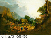 Stark James - a Landscape with Travellers and Donkey in a Lane - ... Редакционное фото, фотограф Artepics / age Fotostock / Фотобанк Лори