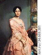 Dubufe Louis Edouard - Portrait of Madame F - French School - 19th... Редакционное фото, фотограф Artepics / age Fotostock / Фотобанк Лори
