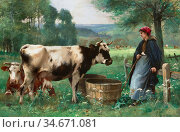 Dupré Julien - Gardeuse De Vaches - French School - 19th Century. Редакционное фото, фотограф Artepics / age Fotostock / Фотобанк Лори