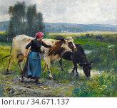 Dupré Julien - Jeune Paysanne Aux Deux Vaches - French School - 19th... Редакционное фото, фотограф Artepics / age Fotostock / Фотобанк Лори