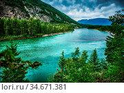 Flathead river rapids in glacier national park montana. Стоковое фото, фотограф Zoonar.com/Alex Grichenko / age Fotostock / Фотобанк Лори