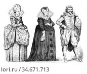 Court lady, Marie de Medici widow of after a woodcut, vintage engraved... Стоковое фото, фотограф Zoonar.com/Patrick Guenette / easy Fotostock / Фотобанк Лори