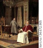 Frappa Jose - Pius VII Et Napoleon - French School - 19th Century. Редакционное фото, фотограф Artepics / age Fotostock / Фотобанк Лори