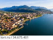 Aerial view of Luino, is small town on the shore of Lake Maggiore in province of Varese. Стоковое фото, фотограф Яков Филимонов / Фотобанк Лори