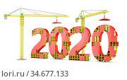 Two tower cranes building a volumetric figure of 2020. 3d render. Стоковое фото, фотограф Zoonar.com/Roman Ivashchenko / easy Fotostock / Фотобанк Лори