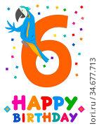 Cartoon Illustration of the Sixth Birthday Anniversary Greeting Card... Стоковое фото, фотограф Zoonar.com/Igor Zakowski / easy Fotostock / Фотобанк Лори