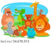 Cartoon Illustration of Happy Wild Animal Comic Characters Group. Стоковое фото, фотограф Zoonar.com/Igor Zakowski / easy Fotostock / Фотобанк Лори