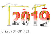 Two tower cranes building a volumetric figure of 2019. 3d render. Стоковое фото, фотограф Zoonar.com/Roman Ivashchenko / easy Fotostock / Фотобанк Лори