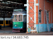 Tram depot and repair shop of the public transportation company in... Стоковое фото, фотограф Zoonar.com/Stefan Laws / easy Fotostock / Фотобанк Лори