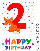 Cartoon Illustration of the Second Birthday Anniversary Greeting Card... Стоковое фото, фотограф Zoonar.com/Igor Zakowski / easy Fotostock / Фотобанк Лори