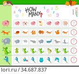 Illustration of Educational Counting Task for Children with Cartoon... Стоковое фото, фотограф Zoonar.com/Igor Zakowski / easy Fotostock / Фотобанк Лори