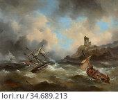 Gudin Jean Antoine Théodore - Marine Sous Un Ciel D'orage - French... Стоковое фото, фотограф Artepics / age Fotostock / Фотобанк Лори