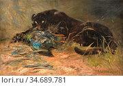Swan Cuthbert Edmund - Puma and Prey - British School - 19th Century. Стоковое фото, фотограф Artepics / age Fotostock / Фотобанк Лори