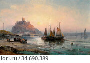 Thornley Hubert (William) - a View of St Michael's Mount 2 - British... Стоковое фото, фотограф Artepics / age Fotostock / Фотобанк Лори