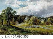 Turner George - Haddon Hall - British School - 19th Century. Стоковое фото, фотограф Artepics / age Fotostock / Фотобанк Лори