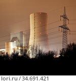 Steinkohlekraftwerk Datteln mit Block 4 der Firma Uniper am Abend... Стоковое фото, фотограф Zoonar.com/Stefan Ziese / age Fotostock / Фотобанк Лори