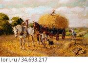 Wheelwright Rowland - the Haymakers - British School - 19th Century. Редакционное фото, фотограф Artepics / age Fotostock / Фотобанк Лори