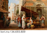 Haddon Arthur Trevor - a Venetian Fruit Seller - British School - ... Редакционное фото, фотограф Artepics / age Fotostock / Фотобанк Лори