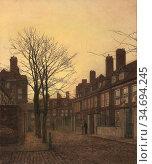 Grimshaw John Atkinson - a Chelsea Street - British School - 19th... Редакционное фото, фотограф Artepics / age Fotostock / Фотобанк Лори