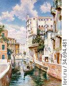 Haddon Arthur Trevor - a Venetian Canal - British School - 19th Century... Редакционное фото, фотограф Artepics / age Fotostock / Фотобанк Лори