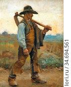 Haddon Arthur Trevor - a Labourer with Pick-Axe - British School - ... Редакционное фото, фотограф Artepics / age Fotostock / Фотобанк Лори