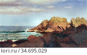 Haseltine William Stanley - Rocks at Nahant 1 - British School - ... Редакционное фото, фотограф Artepics / age Fotostock / Фотобанк Лори