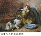 Huber Léon Charles - Cat Family - French School - 19th Century. (2020 год). Редакционное фото, фотограф Artepics / age Fotostock / Фотобанк Лори