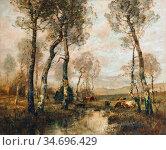 Japy Louis Aimé - Vaches S 'abreuvant - French School - 19th Century. Редакционное фото, фотограф Artepics / age Fotostock / Фотобанк Лори