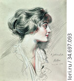 Helleu Paul - La Jolie Modiste (Portrait of Coco Chanel) - French... Редакционное фото, фотограф Artepics / age Fotostock / Фотобанк Лори