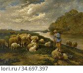 Jacque Charles Emile - Un Berger Avec Ses Moutons Au Bord De La Rivière... Редакционное фото, фотограф Artepics / age Fotostock / Фотобанк Лори