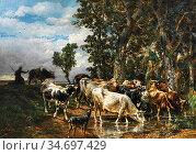 Jacque Charles Emile - Troupeau De Vaches a L 'abreuvoir - French... Редакционное фото, фотограф Artepics / age Fotostock / Фотобанк Лори