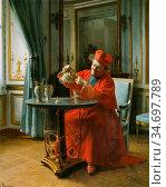 Laissement Henri Adolphe - a Devine Cup of Tea - French School - ... Редакционное фото, фотограф Artepics / age Fotostock / Фотобанк Лори