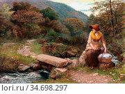 Hughes Arthur - the Footstep - British School - 19th Century. Редакционное фото, фотограф Artepics / age Fotostock / Фотобанк Лори
