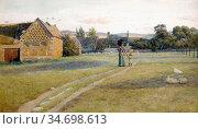 Jackson Frederick Hamilton - Suffolk Summer - British School - 19th... Редакционное фото, фотограф Artepics / age Fotostock / Фотобанк Лори