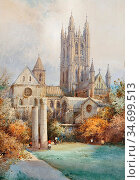 Leaver Noel Harry - Canterbury Cathedral - British School - 19th ... Редакционное фото, фотограф Artepics / age Fotostock / Фотобанк Лори