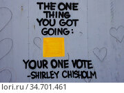Shirley Chisholm Quote on city street, Manhattan, NY. Стоковое фото, фотограф joan slatkin / age Fotostock / Фотобанк Лори