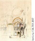 Lewis John Frederick - Interior of Sultanahmet Camii (the Blue Mosque... Редакционное фото, фотограф Artepics / age Fotostock / Фотобанк Лори