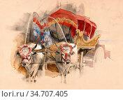 Lewis John Frederick - a Turkish Araba Drawn by Two White Oxen Constantinople... Редакционное фото, фотограф Artepics / age Fotostock / Фотобанк Лори