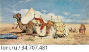Lewis John Frederick - Camels in the Desert near Edfou Upper Egypt... Редакционное фото, фотограф Artepics / age Fotostock / Фотобанк Лори