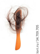 Hairloss problem. Flat lay top view brush with lost hair on it, isolated... Стоковое фото, фотограф Zoonar.com/szefei / easy Fotostock / Фотобанк Лори