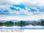 US Pentagon over Potomac river in Arlington (2018 год). Стоковое фото, фотограф Сергей Новиков / Фотобанк Лори