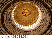 WASHINGTON, DC USA- April 28, 2018: The dome inside of US Capitol. Редакционное фото, фотограф Сергей Новиков / Фотобанк Лори