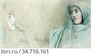 Khnopff Fernand - Het Geheim 1 (Studie) - Belgian School - 19th Century... Редакционное фото, фотограф Artepics / age Fotostock / Фотобанк Лори
