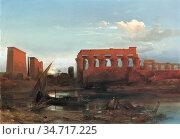 Jacobs Jacob Albrecht - the Temple of Luxor - Belgian School - 19th... Редакционное фото, фотограф Artepics / age Fotostock / Фотобанк Лори