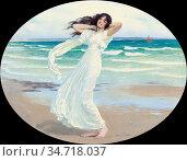 Margetson William Henry - Poseidon's Mistress on the Shore - British... Редакционное фото, фотограф Artepics / age Fotostock / Фотобанк Лори
