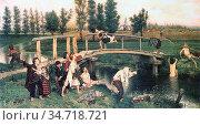 Carpentier Evariste - Bathing Forbidden - Belgian School - 19th Century... Редакционное фото, фотограф Artepics / age Fotostock / Фотобанк Лори
